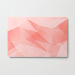 Pantone Living Coral Color of the Year 2019 on Abstract Geometric Shape Pattern Metal Print