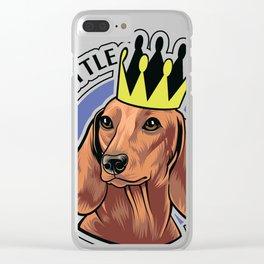 Brown dachshund king Clear iPhone Case