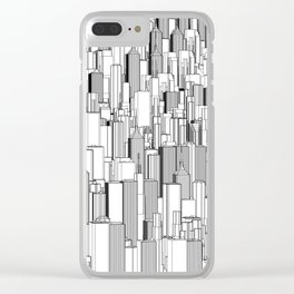 Tall city B&W / Lineart city pattern Clear iPhone Case