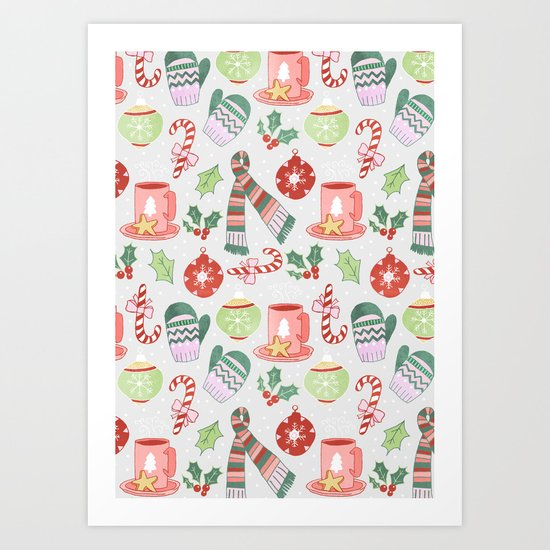 Cozy Christmas Pattern Art Print
