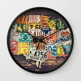 License Plate Map Of The United States Wall Clock