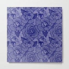 Navy Roses 2 Metal Print