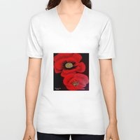 poppies V-neck T-shirts featuring Poppies by maggs326
