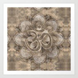 Om Symbol Lotus flower Vintage gold Art Print