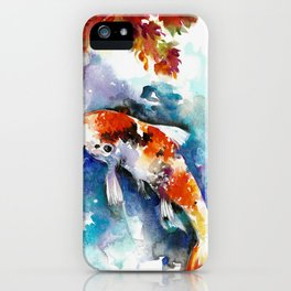Koi Fish in the Pond - Zen Watercolor iPhone Case