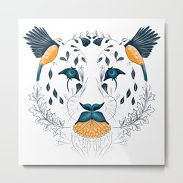 Leopard Face Symmetrical Design Combining Flora and Fauna Metal Print