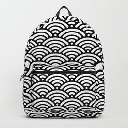 Black White Mermaid Scales Minimalist Backpack