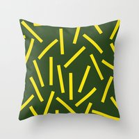 fries Throw Pillows featuring Fries by Alberto Antoniazzi