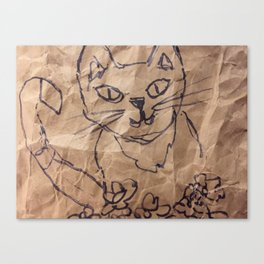 Cat on the bag Canvas Print