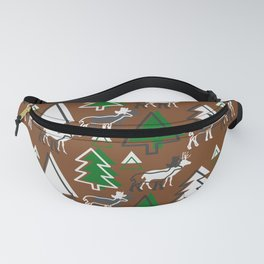 Deer winter forest Fanny Pack