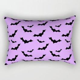Black Bat Pattern on Purple Rectangular Pillow