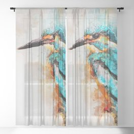 Watercolor kingfisher bird Sheer Curtain