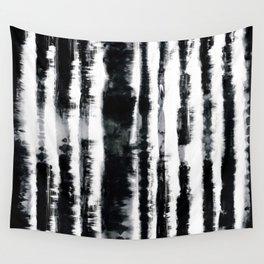 Tie-Dye Shibori Stripe BW Wall Tapestry