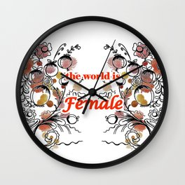 letterings with flowers red Wall Clock
