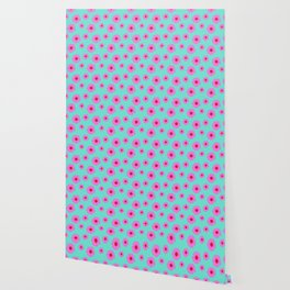 Pink and Mint Echinacea Floral Print Wallpaper