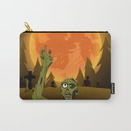 Halloween zombie on orange moon Carry-All Pouch