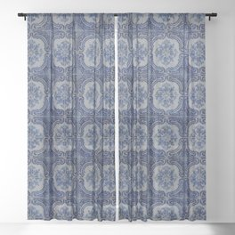Vintage blue ceramic tiles pattern Sheer Curtain