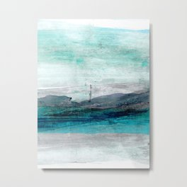 Turquoise Blue Green Abstract Coastal Landscape Metal Print