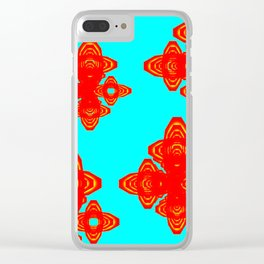 Retro Red Decorative Shapes on Turq Background Clear iPhone Case