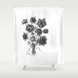 Spring Wildflowers with Ribbons Black and White Shower Curtain