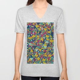 Colourful triangular mosaic in blue, yellow and burgundy Unisex V-Neck