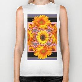 Grey-Black Geometric Sunflower Pink Art Biker Tank