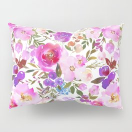Elegant blush pink violet lavender watercolor summer floral Pillow Sham