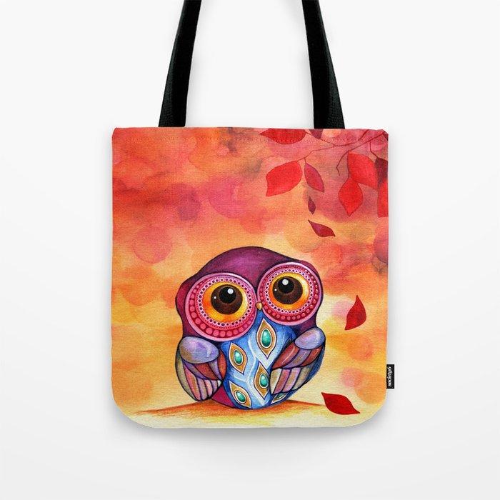 Owl's First Fall Leaf Tote Bag