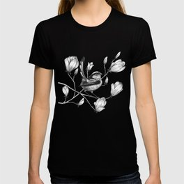 long tailed tit in a magnolia tree T-shirt