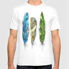 Dream Feathers White MEDIUM Mens Fitted Tee
