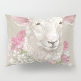 Sheep With Floral Wreath by Debi Coules Pillow Sham