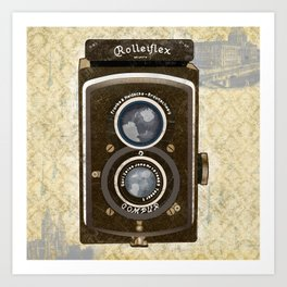 Yellow Vintage Camera Art Art Print