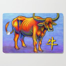 Chinese Zodiac Year of the Ox Colorful Bull Cutting Board