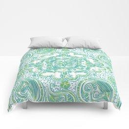 Paisley Mandala - Blue & Green Comforters