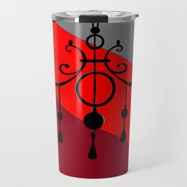A Chandler with Candles and Red, Maroon and Gray Travel Mug
