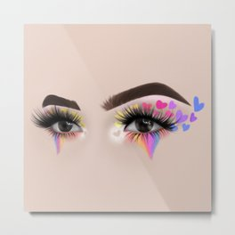 Rainbow Heart Eyeshadow Make-Up Look Metal Print