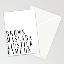 Brows Mascara Lipstick Game On, Girls Room Decor,Quote Prints,Wake Up And Makeup,Girly Print,Gift Fo Stationery Cards