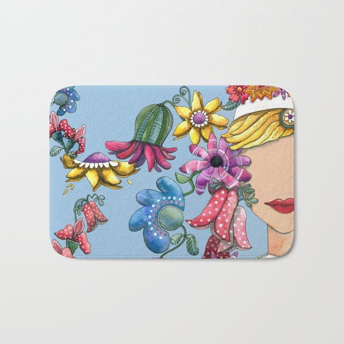 I Love the Flower Girl Bath Mat