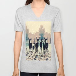 Deer in the snowy forest Unisex V-Neck