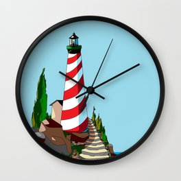 The Lighthouse on a Sunny Day Wall Clock