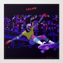 Escape cyberpunk 80's skateboard Canvas Print