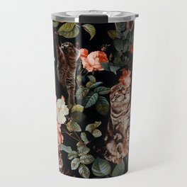 Cat and Floral Pattern II Travel Mug