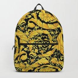 Black Gold Leaf Swirl Backpack