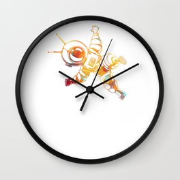 Orange Astronaut Cosmonaut Spaceman Funny Galaxy Space Wall Clock