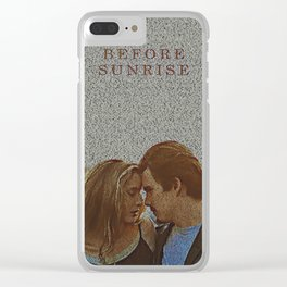 Text Portrait of Ethan Hawke and Julie Delpy with Full Script of the movie Before Sunrise Clear iPhone Case