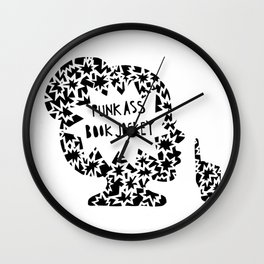 Punk Ass Book Jockey in Black and White Wall Clock