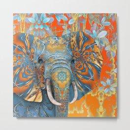The Happy Blue Elephant Metal Print