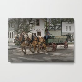 Fort Edmonton Museum Old Horse Drawn Wagon in Edmonton Alberta Canada Metal Print