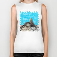 otters Biker Tanks featuring Where the River Meets the Sea Otters by Distortion Art