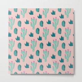 Cute Hand Drawn Cactus Pattern Metal Print